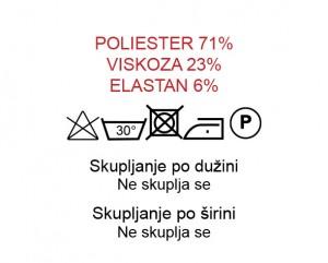 Poliester 71%, Viskoza 23%, Elastan 6%