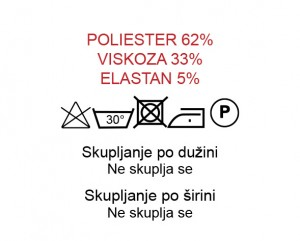 Poliester 62%, Viskoza 33%, Elastan 5%