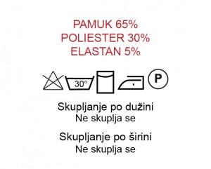 Pamuk 65%, Poliester 30%, Elastan 5%